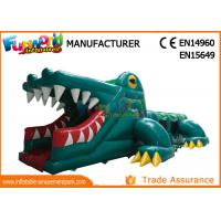 Wholesale Green Shark Inflatable Obstacle Course Tunnel / Assault Course Bounce House from china suppliers