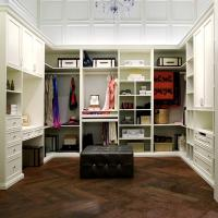 PVC Finish White Walk In Closet / Wardrobe Traditional Design With Functional Accessories Manufactures