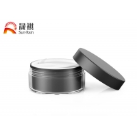 Buy cheap Double Wall 100g Black Cosmetic Plastic Jar With Screw On Lid And Spoon from wholesalers