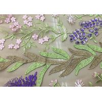 Buy cheap Soft Embroidered Tulle Coloured Lace Fabric , Women Dresses Lace Clothing Fabric from wholesalers
