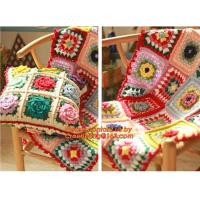 Buy cheap The good hand exclusive retro handmade crochet Mori stereo flower Retro Red Edge pillow from wholesalers