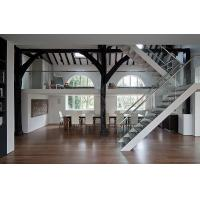 steel mono glass staircase / wood steps glass railing stairs /L shape steel wood staircase Manufactures