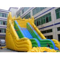 Buy cheap EN14960 Big Wave Yellow And Green Durable Inflatable Slide For Adult Inflatable Games from wholesalers