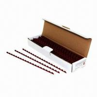 Wholesale Plastic comb binding with 21 rings, measures 6mm, available in maroon, 100 pieces/box, 20 box/carton from china suppliers