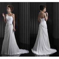 Buy cheap Draped Backless Chiffon Wedding Dresses / Beaded Crystal Ladies Wedding Ball Gown from wholesalers