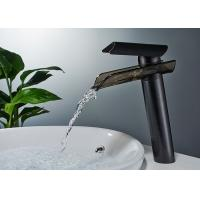 Buy cheap ROVATE Sanitary Ware Black Bathroom Basin Faucets Waterfall Spout Desk Mounted from wholesalers