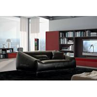 Buy cheap Brazil Leather Living Room Couches , 3 Seats Black Lounge Chair from wholesalers