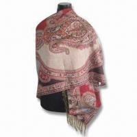 Wholesale Women's Jacquard Shawl, Made of Viscose and Acrylic, Measures 178 x 68 or 10 x 2cm from china suppliers