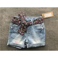 Buy cheap Popular Light Wash Denim Shorts / Stretchy Jean Shorts With Printed Woven Fabric Belt from wholesalers
