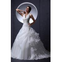 Quality Girls Sexy V Neck A Line Applique Beaded Empire Line Wedding Dresses , White for sale
