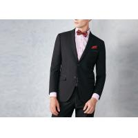 Black Tailored Mens Tuxedo Suits Breathable Polyester / Rayon Fit Wedding Party