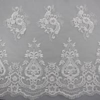 Buy cheap 3D Eyelash Polyester Yarn On Nylon Mesh Corded Embroidery Lace Fabric For Bridal from wholesalers