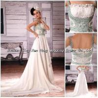 2012 Handmade Spaghetti Strap Beaded Applique Ruffled Wedding Dress (BS-044) Manufactures