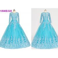 Buy cheap Muslim Style Blue Multi Colored Wedding Gowns With Lace Long Sleeves Zipper Back from wholesalers
