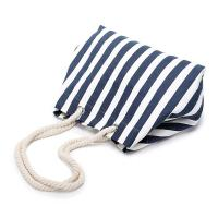 Buy cheap Navy Stripe Canvas Pool Bag , Black Personalised Canvas Beach Bag Nautical from wholesalers