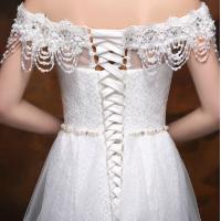 Buy cheap Off Shoulder Beaded Appliques wedding dress with long trains for Girls / Womens from wholesalers