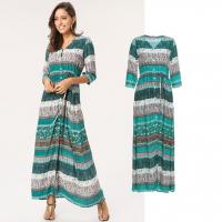 Buy cheap china factory supplier OEM hot sale floral V-neck maxi dress for girls from wholesalers