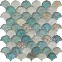 Light blue green mix water waving glass mosaic for hotel mall Manufactures