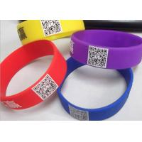 Buy cheap printed readable QR code customized logo silicone rubber wristbands CE certificates from wholesalers