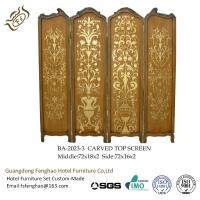 Buy cheap Vintage Hand Painting 4 Panel Room Divider Golden Carved Folding Wall Divider from wholesalers