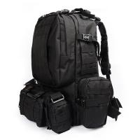 Black Army Backpack / Tactical Hiking Backpacks With 3 Molle Bags