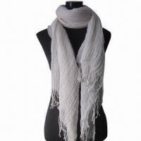 Wholesale Cashmere-like Scarf, Customized Specifications are Accepted, Measures 67x178cm+10x2cm from china suppliers