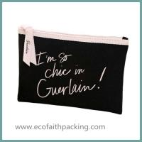 Buy cheap customized small cotton cosmetic zipper pouch, black canvas makeup zipper bag from wholesalers