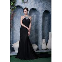 Buy cheap Classic Black Scoop Neckline Chiffon Floor Length Ruffle Mother Of Bride Dresses With Beaded Party Dress from wholesalers