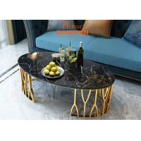 Buy cheap Golden Stylish Toughened Stainless Steel Side Coffee Table With Marble Top from wholesalers