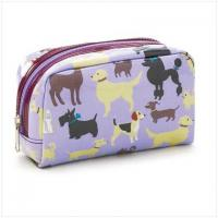 Buy cheap Brown Dot Pattern Pink Zipper Portable Cosmetics Makeup Hand Bag from wholesalers