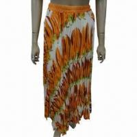 Buy cheap Women's pleated long chiffon skirt with printing, customized fabrics and colors are accepted from wholesalers