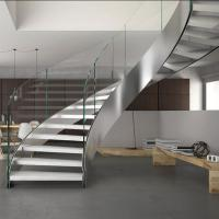 Buy cheap Villa house Stainless steel staircase Stainless steel curved stair steel-wood from wholesalers