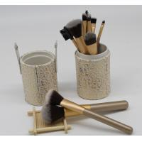 Buy cheap Women'S Flat Natural Hair Makeup Brushes Set With Cylinder , Gold Color from wholesalers