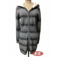 Buy cheap Customized Lady Casual Thickened Woolen Hooded Coat Long Sweater With Zipper Knitwears for Winter from wholesalers