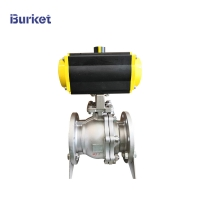 Buy cheap 3/4-8 Pn16 2 Way Stainless Steel PTFE Flanged Connection Pneumatic Actuated Ball Valve from wholesalers