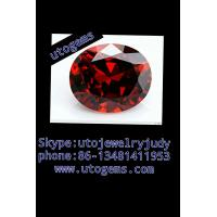 China oval shape garnet cubic zirconia gems on sale