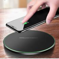 Buy cheap 2019 Amazon Best selling Black and White Fabric/leather/glass 10W Fast Charging wireless charger 9V 2A from wholesalers
