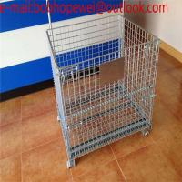 Buy cheap wire mesh storage container /wire mesh cage/ industrial stackable foldable Steel folding wheeled wire mesh storage cage from wholesalers