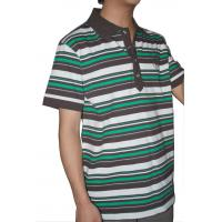 Buy cheap Tranfering Strip Pattern Striped T Shirt Mens , White Green Mens T Shirt With Collar from wholesalers