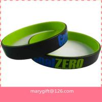 Buy cheap custom cheap dual silicone wristband, plain oil silicone bracelet, two colors rubber wrist from wholesalers