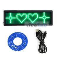 Buy cheap TOP quality world language support 1.3X4 Blue color Usb rechargeable scrolling message led name tags from wholesalers