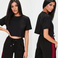 Buy cheap Petite Clothing Black Roll Sleeve T Shirt Women from wholesalers