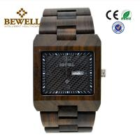 Square Shape Luxury Wooden Wrist Watch , Recycled Custom Wood Watch For Sport / Business Manufactures