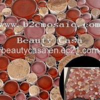 Wholesale Light Emperador Mix with Red Glass Mosaic Tile from china suppliers
