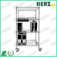 Buy cheap Anti Static Stainless Steel Rack With Wheels / 4 Layers Chrome Plated Wire Shelves from wholesalers