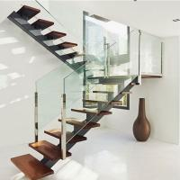 Wholesale Hot sell mono beam interior glass stair railing wood straight staircase from china suppliers