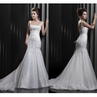 Graceful Mermaid Beaded Straps Womens Wedding Dresses with Court Train