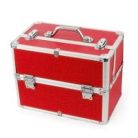 Wholesale Flannelette Red Makeup Train Case Travel Cosmetic Organizer Customized from china suppliers