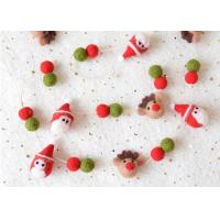 Buy cheap Custom Color Christmas Felt Balls Christmas Elk Pattern With White Cotton Rope from wholesalers