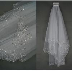 Wholesale Bridal veil, wedding dress, dress accessories, 2 layers of handmade beads, hook styling bridal veil wholesale from china suppliers